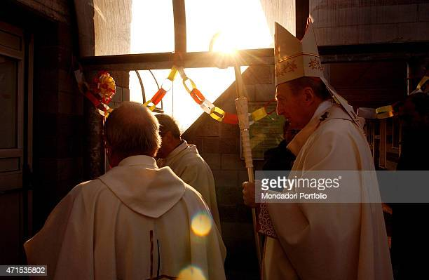 'The Archbishop of Milan Cardinal Carlo Maria Martini portrayed before the celebration of the Mass in the church of St John the Baptist Garbagnate...