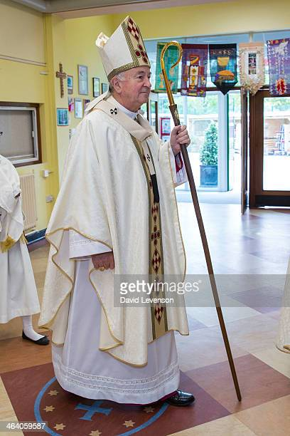 KENTON ENGLAND May 25 The Archbishop of Westminster Vincent Nichols on a pastoral visit to St Bernadette's Catholic Primary School on May 23 2013 in...
