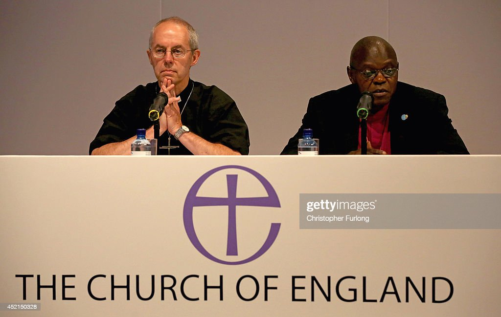 The Archbishop of York John Sentamu, (R) and the Archbishop of Canterbury Justin Welby take part in a press conference after the Church of England General Synod gave their backing to to the ordination of women bishops at York University on July 14, 2014 in York, England. Members and officers of the Church of England's General Synod have voted in favour to introduce women bishops. The first women bishops could be announced and ordained within the next year.