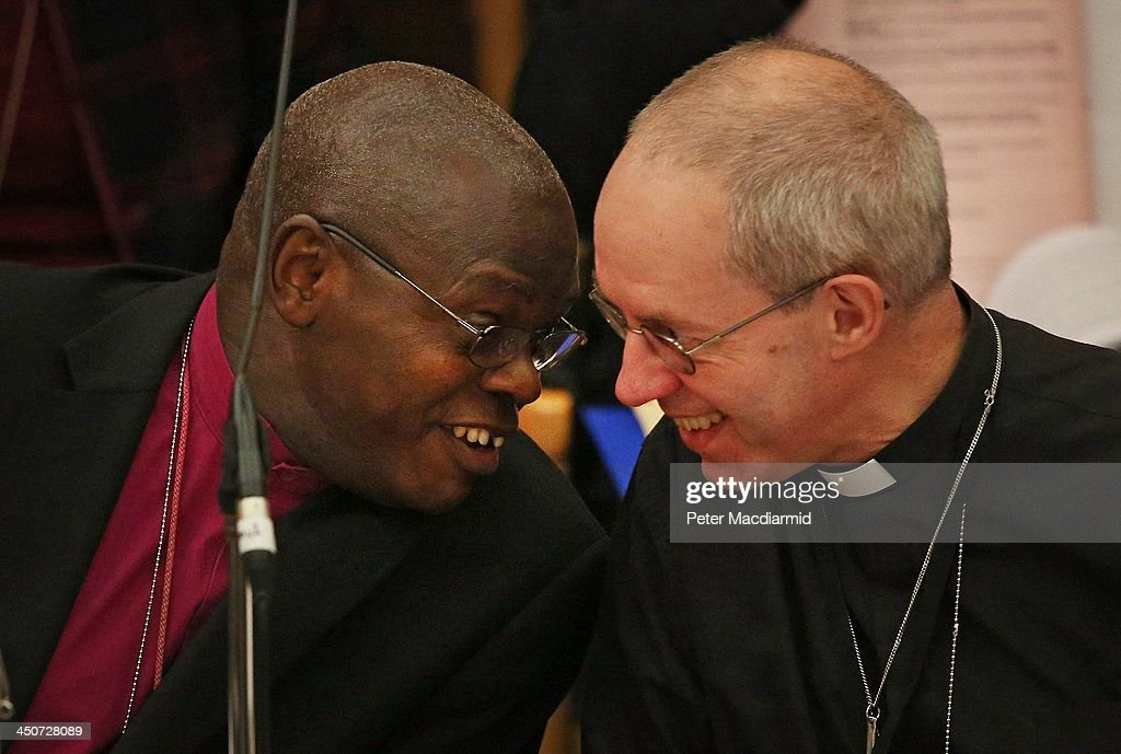 The Archbishop of York <a gi-track='captionPersonalityLinkClicked' href=/galleries/search?phrase=John+Sentamu&family=editorial&specificpeople=623109 ng-click='$event.stopPropagation()'>John Sentamu</a> (L) talks to The Archbishop of Canterbury <a gi-track='captionPersonalityLinkClicked' href=/galleries/search?phrase=Justin+Welby&family=editorial&specificpeople=9960447 ng-click='$event.stopPropagation()'>Justin Welby</a> during the General Synod at Church House on November 20, 2013 in London, England. The Church of England's governing body, known as the General Synod, is holding meetings this week where the issue of the ordination of women bishops will be debated.