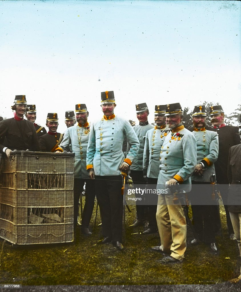 The <a gi-track='captionPersonalityLinkClicked' href=/galleries/search?phrase=Archduke+Franz+Ferdinand+of+Austria&family=editorial&specificpeople=215090 ng-click='$event.stopPropagation()'>Archduke Franz Ferdinand of Austria</a>-Este, heir presumptive to the Austro-Hungarian throne, is visiting a hot-air balloon. Hand-colored lantern slide. Around 1910.