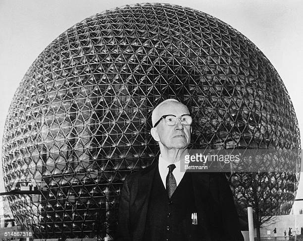 The architect stands in front of his creation a geodesic dome which acts as the US pavilion at the 1967 World's Fair