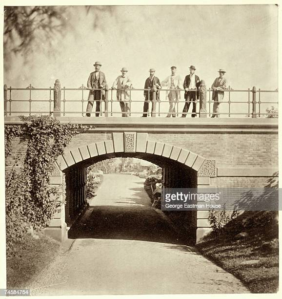 The architects of Central Park pose on Willowdell Arch in Central Park New York 23rd September 1862 From left to right they are Andrew Green...