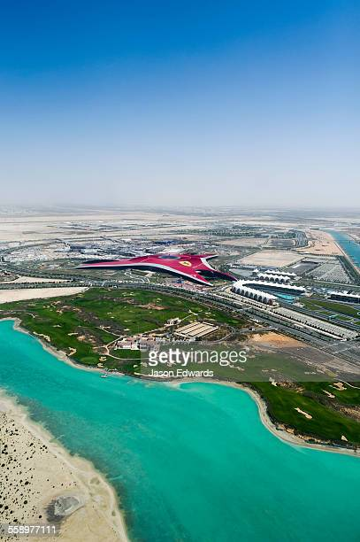 The architecture, boat marina and race track of the Yas Marina Circuit in Abu Dhabi.