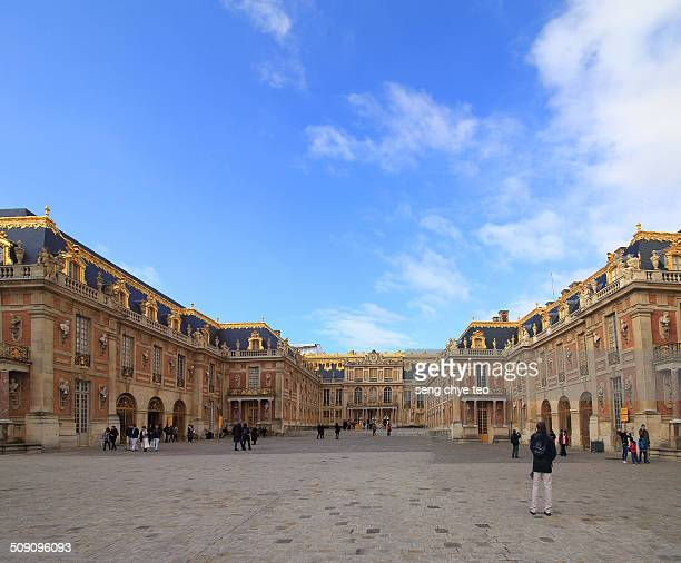 The architecture Versailles with blue sky at Paris Is a royal château in small village 20 km from capitol
