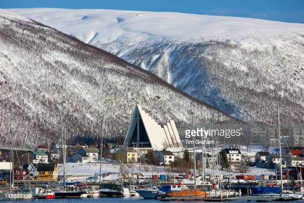 The Arctic Cathedral Lutheran christian known as Tromsdalen Church built 1965 architect Jan Inge Hovig at Tromso Norway