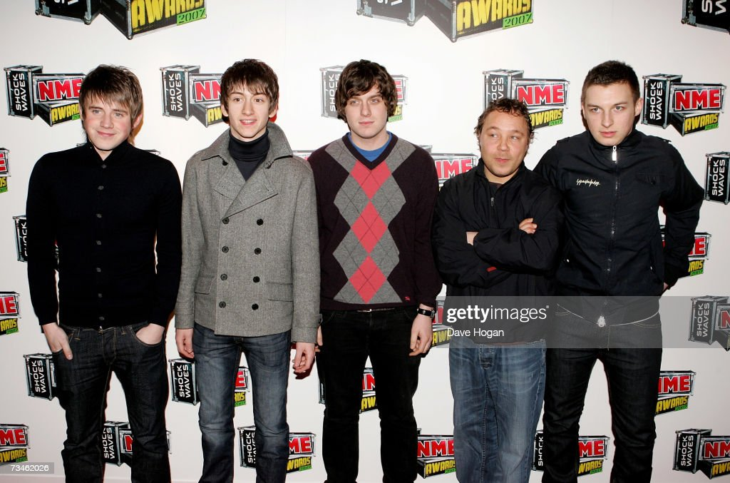 The Arctic Monkeys and actor Stephen Graham arrive at the Shockwaves NME awards at the Hammersmith Palais on March 1 2007 in London England