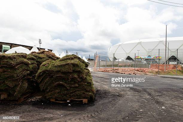 The area around Arena Amazonia shows work remains undone the day before the FIFA World Cup is kicks off June 11 2014 in Manaus Brazil