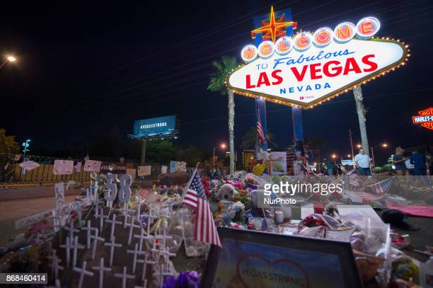 The area near The Fabulous Las Vegas Sign has become the memorial for the victims after the mass shooting in Las Vegas Nevada that took 58 lives...