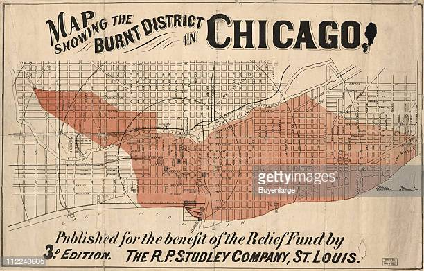 The area of Chicago burned by the Great Fire 1871 Illustration by RP Studley Co