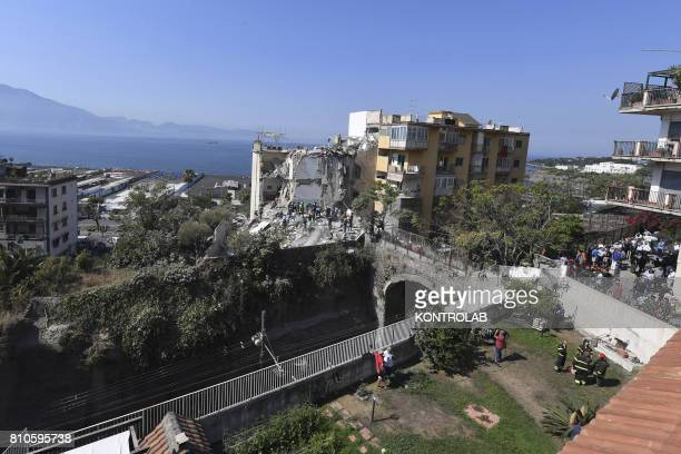 The area of the collapsed palace at Torre Annunziata near Naples southern Italy At the early lights of the morning a fivestory palace suddenly...