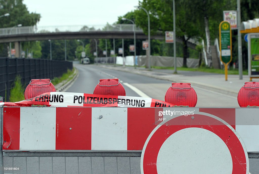 The area where a World War II bomb exploded is cordoned off on June 2, 2010 in Goettingen, central Germany. Three members of a bomb disposal unit died and six others were injured when the World War II bomb they were trying to defuse exploded police said. All the victims were involved in the defusing operation, police said, and later press reports said that none of the injuries were life-threatening.