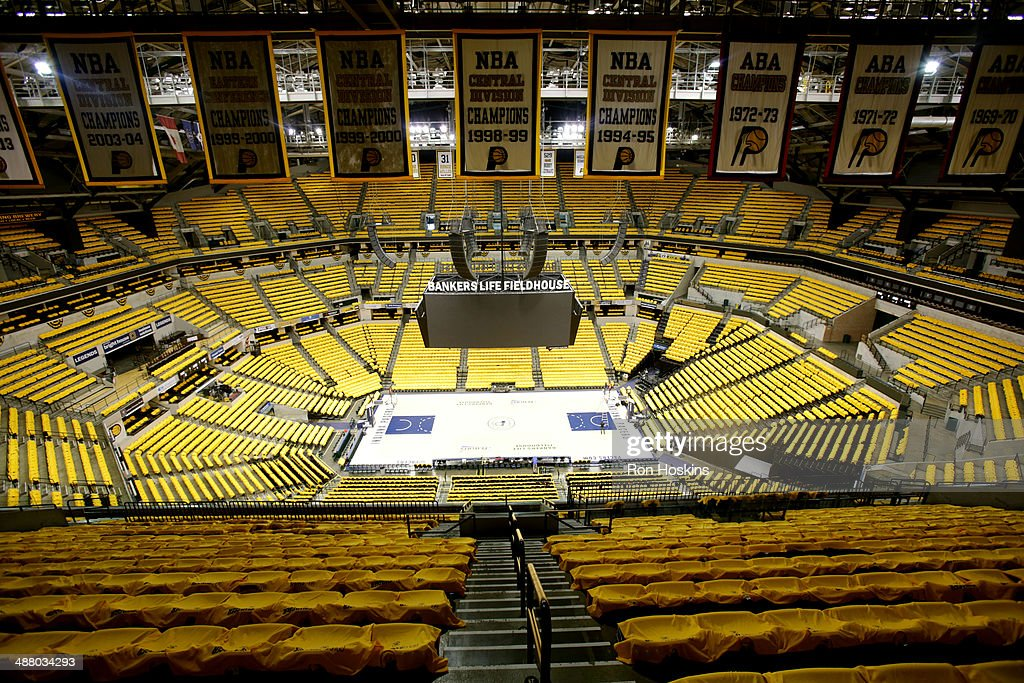 The arena before a game with the Atlanta Hawks against the Indiana Pacers in Game Seven of the Eastern Conference Quarterfinals of the 2014 NBA playoffs at Bankers Life Fieldhouse on May 3, 2014 in Indianapolis, Indiana.
