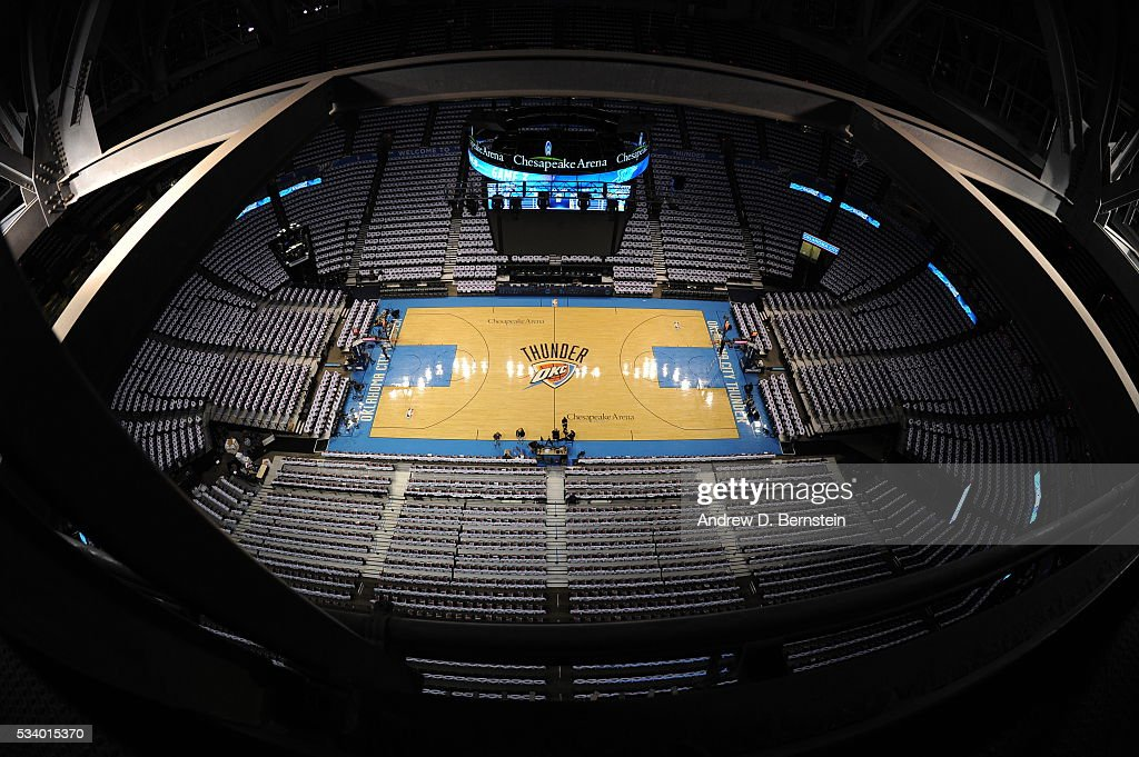 The arena before the Oklahoma City Thunder face the Golden State Warriors for Game Four of the Western Conference Finals during the 2016 NBA Playoffs on May 24, 2016 at Chesapeake Energy Arena in Oklahoma City, Oklahoma.