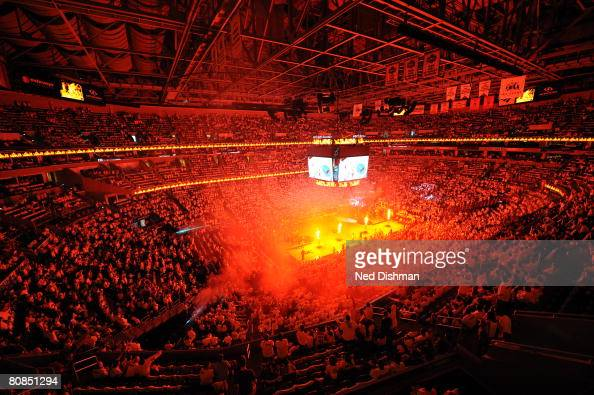 The arena erupts with enthusiasm and pyrotechnics before the Washington Wizards playoff game against the Cleveland Cavaliers in Game Three of the...