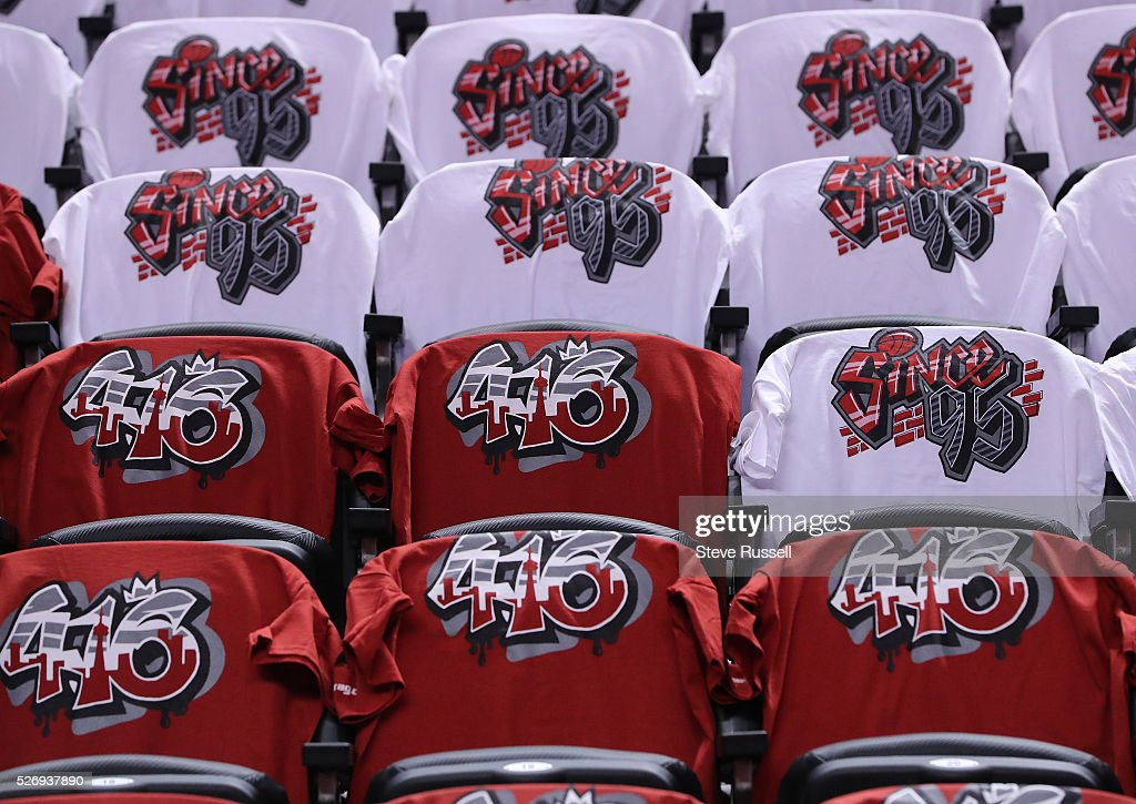 The Arena t-shirts of the Raptors game tonight are '416' and 'Since 95'. Toronto Raptors play Indiana Pacers in game seven of the opening round of the NBA play-offs at the Air Canada Centre in Toronto. May 1, 2016.
