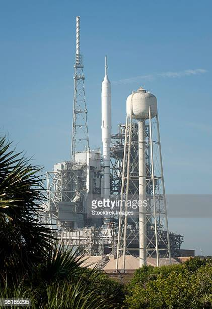 The Ares I-X rocket is seen on the launch pad at Kennedy Space Center.