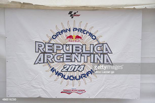 The Argentina GP logo in paddock during the MotoGp of Argentina Previews at on April 24 2014 in Rio Hondo Argentina
