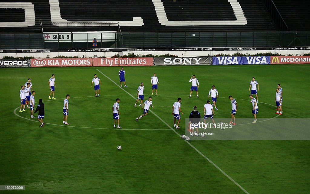 The Argentina players warm up during the Argentina training session, ahead of the 2014 FIFA World Cup Final, at Estadio Sao Januario on July 12, 2014 in Rio de Janeiro, Brazil.