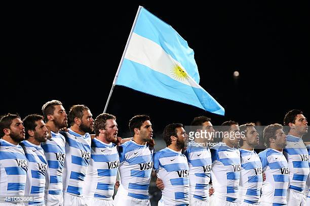 The Argentina Pumas sing their national anthem during The Rugby Championship match between the New Zealand All Blacks and Argentina at AMI Stadium on...