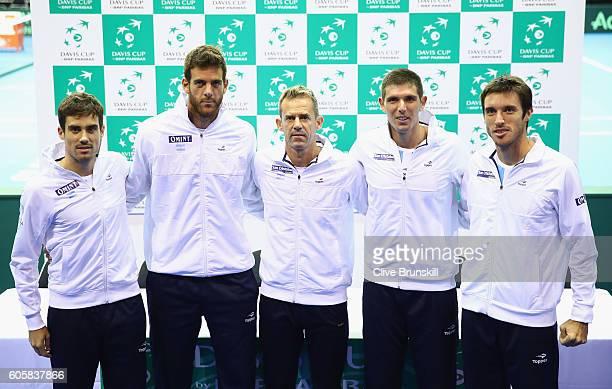 The Argentina team LR Guido PellaJuan Martin Del Potroteam captain Daniel OrsanicFrederico DelbonisLeonardo Mayer prior to the Davis Cup World Group...