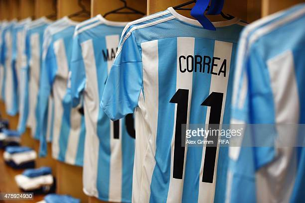 The Argentina U20 team shirts are seen hanging up in the team changing room prior to the FIFA U20 World Cup New Zealand 2015 Group B match between...