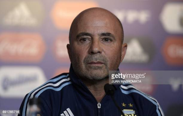 The Argentine football team's new coach Jorge Sampaoli gestures during a press conference after being presented by Argentine football association...