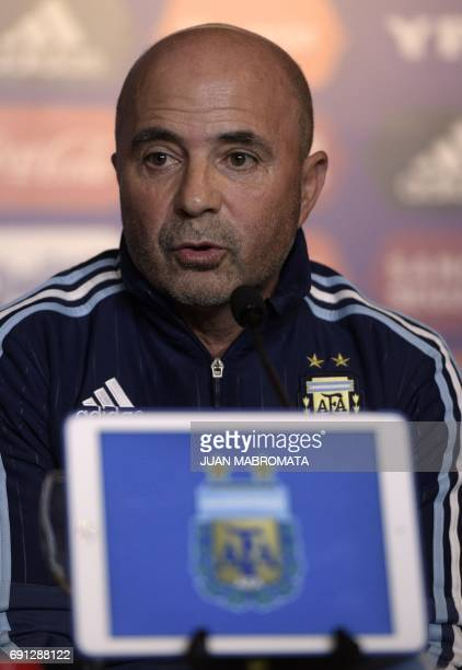 The Argentine football team's new coach Jorge Sampaoli talks to the media during a press conference after being presented by Argentine football...