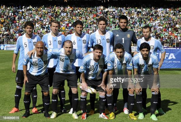 The Argentine national football team poses before their FIFA World Cup Brazil 2014 South American qualifying football match against Bolivia in La Paz...
