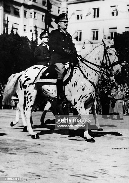 The Argentine President Juan Domingo Peron riding his horse Nansha during a parade Buenos Aires 9th July 1946