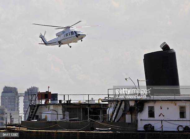 The Argentine presidential helicopter carrying Argentina's President Cristina Fernandez de Kirchner and her counterpart of Venezuela Hugo Chavez...