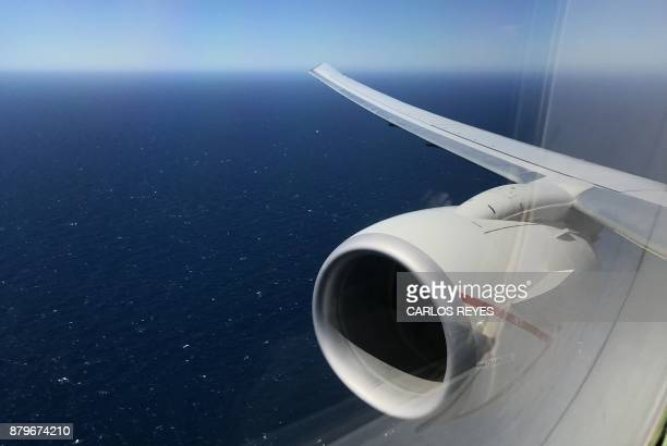 The Argentine Sea is seen from the P8A Poseidon aircraft of the US Navy Patrol and Reconnaissance Wing 11 assisting the Argentine military in their...