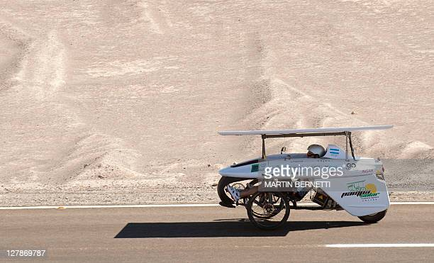 The Argentine vehicle takes part in the Atacama Solar Challenge a solar car race in the Atacama desert in northern Chile in Calama some 1500 Km north...