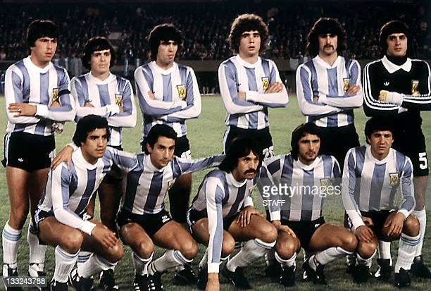 The Argentinian national soccer team before its World Cup first round match against France 06 June 1978 in Buenos Aires AFP PHOTO