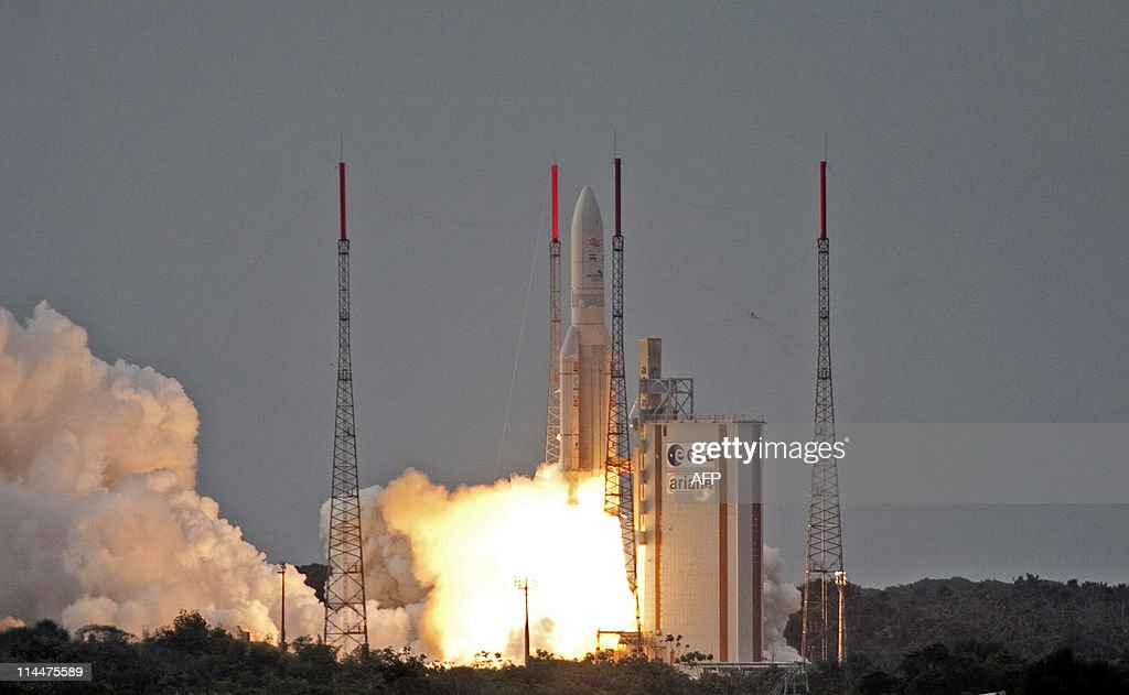 The Ariane 5 rocket, carrying two telecommunication satellites ST-2 and GSAT-8, a joint venture of Singapore Telecommunications Limited and Chunghwa Telecom Company Limited takes off from its launch site in Kourou, in the French overseas department of Guiana, on May 20, 2011.