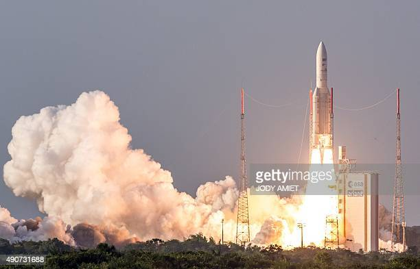 The Ariane 5 rocket launches from the Ariane Launch Area 3 at the European spaceport in Kourou in French Guiana on September 30 2015 The rocket...