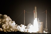 The Ariane 5 rocket lifts off from the Ariane Launchpad Area at the European Spaceport in Kourou in French Guiana on November 10 2015 The rocket...