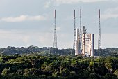 The Ariane V rocket launch has been delayed again from the launch pad in Kourou French Guiana on June 17 2016 due to strong winds in high altitude /...