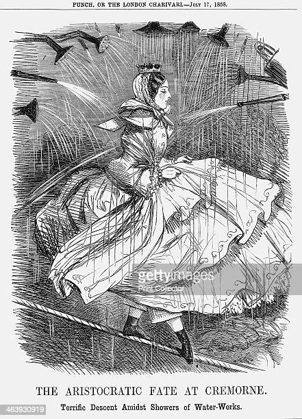 'The Aristocratic Fate at Cremorne' 1858 'Terrific Descent Amidst Showers of WaterWorks' Here Punch pokes fun at the aristocratic ladies who had...