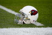 The Arizona Cardinals helmet is seen on the field before Super Bowl XLIII on February 1 2009 at Raymond James Stadium in Tampa Florida