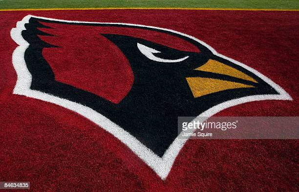 The Arizona Cardinals logo is seen in the end zone before Super Bowl XLIII on February 1 2009 at Raymond James Stadium in Tampa Florida