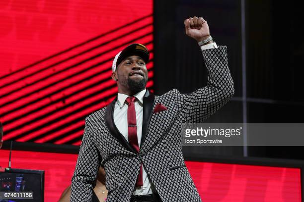 The Arizona Cardinals select Haasan Reddick from Temple with the 13th pick at the 2017 NFL Draft at the 2017 NFL Draft Theater on April 27 2017 in...