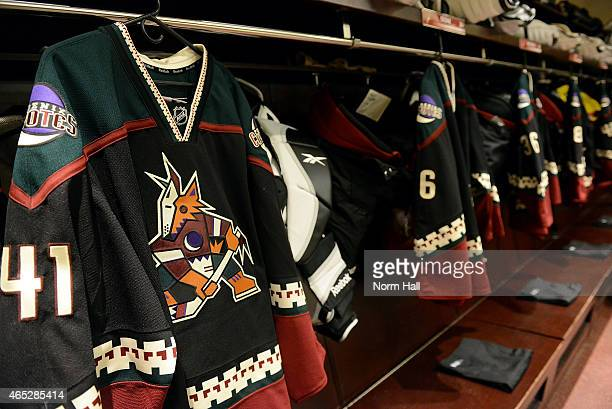 The Arizona Coyotes are wearing the original Kachinastyle uniforms during Throwback Night against the Vancouver Canucks at Gila River Arena on March...