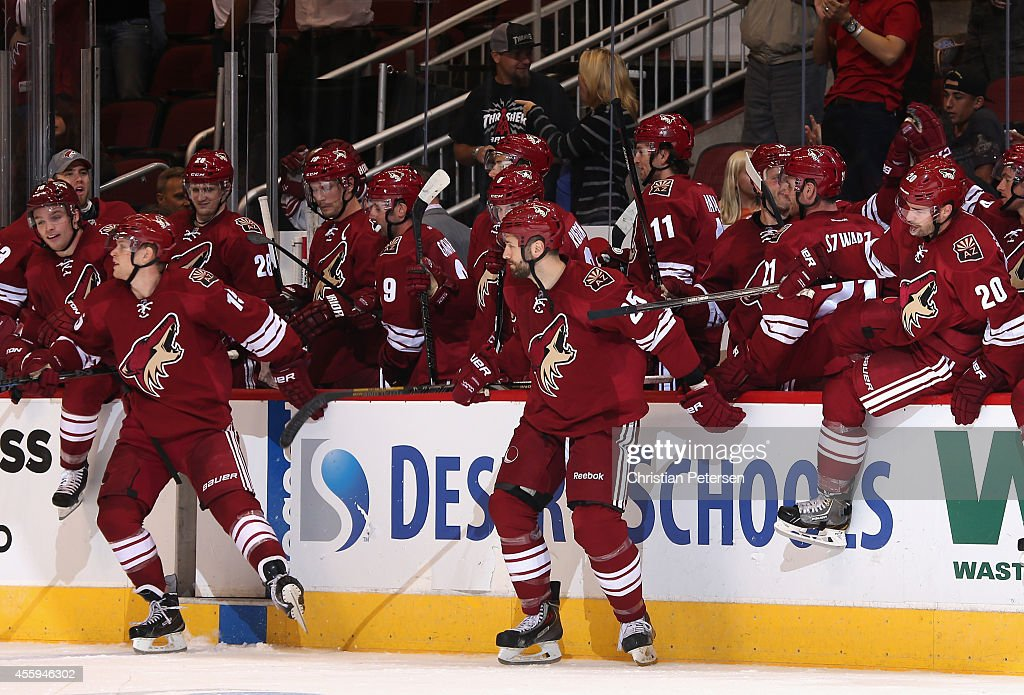 The Arizona Coyotes celebrate off the bench after defeaing the Los Angeles Kings in the preseason NHL game at Gila River Arena on September 22 2014...