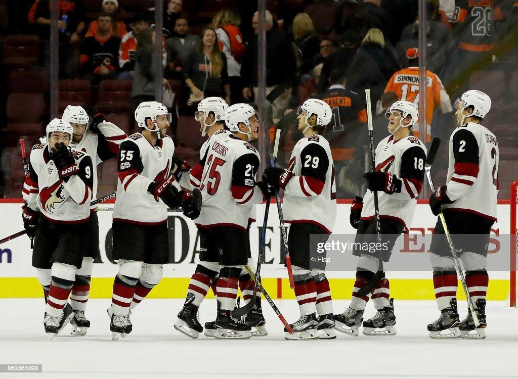 The Arizona Coyotes celebrate their 4-3 win in overtime over the Philadelphia Flyers on October 30, 2017 at Wells Fargo Center in Philadelphia, Pennsylvania.This is the Arizona Coyotes first win of the season.