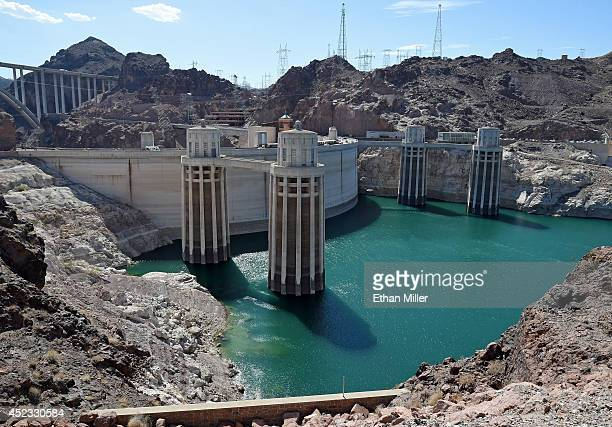 The Arizona Intake Towers and Nevada Intake Towers on the upstream side of the Hoover Dam are shown on July 17 2014 in the Lake Mead National...