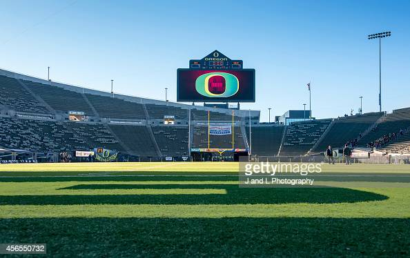 The Arizona Wildcats and the Oregon Ducks prepare for their match up at Autzen Stadium on October 2 2014 in Eugene Oregon