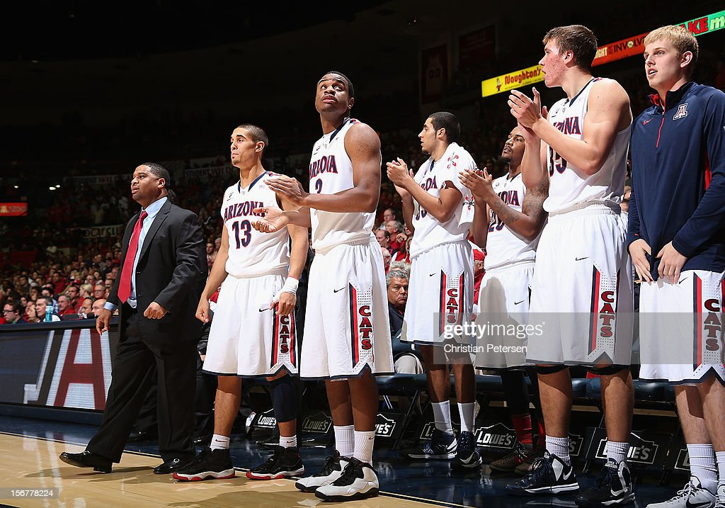 The Arizona Wildcats bench cheers during the college basketball game against the Long Beach State 49ers at McKale Center on November 19, 2012 in Tucson, Arizona. The Wildcats defeated the 49ers 94-72.