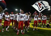 The Arizona Wildcats celebrate their 3124 victory over the Oregon Ducks at Autzen Stadium on October 2 2014 in Eugene Oregon