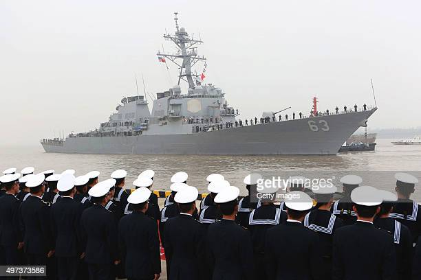 The Arleigh Burkeclass destroyer USS Stethem arrives at the Wusong military port on November 16 2015 in Shanghai China The ship is on a 5day official...